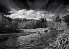 Cheakamus River (martincarlisle) Tags: cheakamusriver seatoskyhighway highway99 paradisevalley squamish whistler britishcolumbia canada rivers rocks trees sky mountains clouds sonycameras nikonlenses blackandwhite monochrome