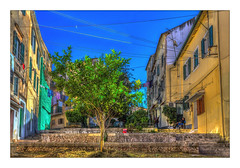 The Old Lady of Corfu (Kevin, from Manchester) Tags: corfu greece island canon1855mm kevinwalker architecture trees steps house sky hdr colorfull
