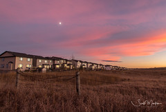 IMG_3305 (Scott Martin Calgary) Tags: evergreen sunset pinkclouds clouds houses fence