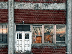 Sunset (Jean S..) Tags: old door windows sunset reflection brick red grey outdoor autumn fall white building