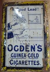 Ogden's Cigarettes Ad (Terry Pinnegar Photography) Tags: sign advertisement vintage vitreous enamel metal edwardian antique ogdens guineagold cigarette