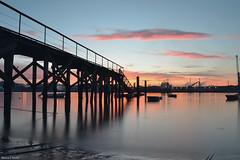 San Balandrn (blancaelena_muizmartinez) Tags: embarcadero espaa spain sunset sol sky agua water asturias atardecer aviles anochece