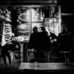 Everyday #Adelaide No. 390 (michelle-robinson.com) Tags: michellerobinson michmutters adelaide southaustralia australia adelaidecentralmarket squareformat bw blackwhite blackwhitephotography flickrelite 4tografie people love couple kissing cafe fujifilm xt10 xseries streetphotography street streetphotographer documentary photography snapseed