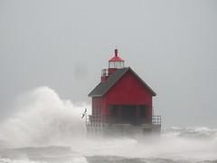 Gale of November (John Rothwell) Tags: grandhaven michigan gale waves november winter fall cold nasty windy lakemichigan lake lighthouse pier