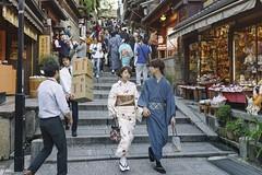 Bikkuri Boxes () Tags: kyoto kimono couple stairs boxes japan sony 28mm f2 a7 street
