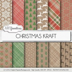 Christmas Kraft Paper in red, green and white holiday designs on kraft paper, Christmas digital background paper with ornaments, reindeer, plaid, snow, https://goo.gl/bckZlo #digitalscrapbooking #digitalpapers #design #handmade #scrapbooking (Artfanaticus) Tags: artfanaticus digital paper scrapbooking instant download etsy background marketing material invitations party decor cards