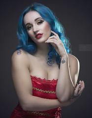 Lexy (rdeloviar) Tags: seamless blue hair girl model red lipstick tattoo circus cirque carnival theme photoshoot portrait portraiture clean strobists two light off camera flash studio auburn california photographer lines curves