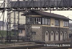 Freilassing Bahnhof  03-1973  alte Fussgngerbrcke & Stellwerk (Pacific11) Tags: eisenbahn train track railway railroad bayern freilassing bad reichenhall elok vintage alt 1973 bahnhof