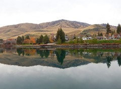 The Butte at Lake Chelan (starmist1) Tags: butte lakechelan chelan water mountain reflection trees houses sky lake scenic landscape citypark wineries casino orchards apples fruit shopping downtown