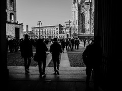 City center (Daniele Salutari) Tags: photo photography shot wow amazing cool great good dannyboy ilovedannyboy daniele black white bianco nero milano milan italy people shadows light lights autumn fall