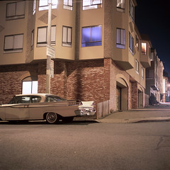 (patrickjoust) Tags: sanfrancisco california mamiyac330s sekor80mmf28 fujichromeprovia100f tlr twin lens reflex 120 6x6 medium format fuji chrome slide e6 color reversal expired film cable release tripod long exposure night after dark manual focus analog mechanical patrick joust patrickjoust northern ca usa us united states north america estados unidos autaut car auto automobile vehicle parked old purple window apartments