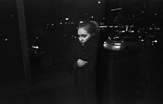 Night scenes (Helsinki Drifter) Tags: blackandwhite film nightphotography streetphotography helsinki winter night candid lone girl expiredfilm kodaktmaxp3200 grain