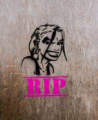 snarling RIP girl (PDKImages) Tags: art street manchesterstreetgallery manchesterstreetart streetart contrasts couple love artinthecity ripartist faces abandoned girl bee bees manchester walls posterart stencilart heart hidden dmstff cityscape cityscene