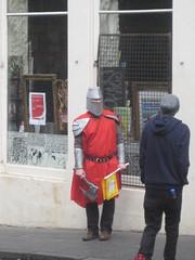Knight (miketransreal) Tags: costume edinburgh dress row fancy pedestrians knight candlemaker