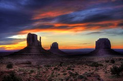 Monument Valley - Sunrise [Explore] (zendt66) Tags: travel camping vacation arizona favorite usa southwest color monument clouds sunrise utah nikon butte desert assignment scenic american valley theme monumentvalley weekly hdr photostream mitten navajotribalpark d90 photomatix zendt66 52weeks2014
