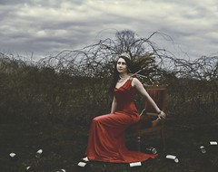 Everything and nothing (SamanthaLabrecque) Tags: red woman beauty pain glamour dress pearls illusion crown cans tear struggle deceit internal fineartphotography confrontation unraveling conceptualphotography samanthalabrecque