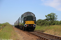 D6732 13th June 2014 NNR Diesel Gala (Ian Sharman 1963) Tags: tractor station june train ian diesel north norfolk engine railway loco class passenger holt 37 12th 13th gala sheringham freight sharman 1963 2014 weybourne nnr 37032 d6732