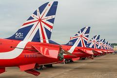 Red Arrows 50th Anniversary (Tangoman11) Tags: england design team display hawk anniversary tail british 50th reds redarrows tails raf aerobatic fairford royalairforce xx219 xx323 50displayseasons riat2014