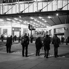 3/365 - Cannon Street crossing (Spannarama) Tags: road uk people blackandwhite london station square crossing looking january pedestrians 365 commuters cannonstreet 2014 craning