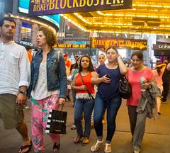 Times Square- Night Out (UrbanphotoZ) Tags: nyc newyorkcity ny newyork women couple manhattan midtown timessquare chase westside sephora blockbuster thelionking dowjones theaterdistrict flowerpants itsamazing cubandebt
