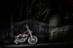 Harley Davidson - Sheffield (PGDesigns.co.uk) Tags: light house bike stone night painting gate south sheffield yorkshire haunted harley chrome davidson pgdesigns