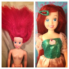 From permanently frizzled and sticking straight up troll-hair to sleek and shiny and clean (; #ariel #restoration (ForeverYoung101) Tags: ariel restoration