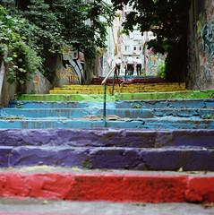 (Zeb Andrews) Tags: travel 6x6 film analog turkey square rainbow europe steps streetphotography istanbul hasselblad cihangir hasselblad500c