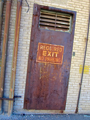 Required Exit, Lansing, MI (Robby Virus) Tags: door sign alley michigan no parking rusty lansing rusted exit required