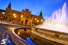 Place d'Espagne @ Blue Hour (A.G. Photographe) Tags: sunrise spain nikon seville ag bluehour nikkor espagne fontaine hdr foutain anto xiii 2470 placedespagne d810 antoxiii agphotographe