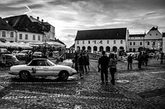 small square (Octav Bobe) Tags: sunset people car buildings bricks romania sibiu retrocar smallsquare outstandingromanianphotographers
