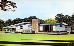 Westbrook by Swift Homes (Edge and corner wear) Tags: house home modern illustration vintage pc artist suburban parts postcard prefab modernism architectural company chrome housing swift development carport rendering manufactured midcentury postwar tract