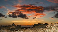 Sunset on the Rocks (DonMiller_ToGo) Tags: sunset summer sky orange gulfofmexico water clouds landscape rocks waves sunsets g5 blueskies skyscapes goldenhour fireinthesky skycandy cloudsonfire beachphotography skypainter myflorida sunsetmadness sunsetsniper caspersensbeach