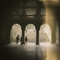 Arcade by Bethesda Fountain (J.T.R.) Tags: newyorkcity summer film holga kodak centralpark manhattan portra centralparkwest koda analogkid 72ndandcentralparkwest