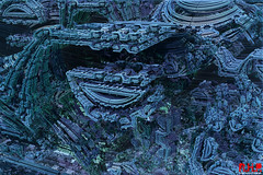 Alien City (Richard Hayward Photography) Tags: world city blue green art strange wall modern digital buildings print photography for robot photo mechanical zoom sale alien digitalart machine canvas richard future buy fractal hayward futuristic rhp mandelbulber