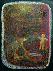 Anansi captures Moatia (ArneKaiser) Tags: art chalk edited waldorf chalkboard 2ndgrade anansi chalkdrawings moatia pineforestschool mrkaisersclass waldorfjourney