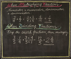 5th Grade: Math; Fractions Review (ArneKaiser) Tags: 5thgrade autoimport boarddrawings edited mrkaisersclass pineforestschool waldorf chalk chalkboard chalkdrawings math