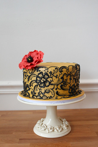 Black Sexy Lace with Red Poppy Wedding Cake