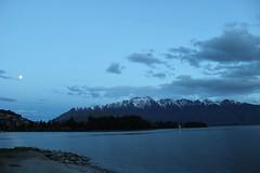 Nighttime on the Lake (jayleahrose) Tags: queenstown night twilight lake wakatipu southern alp mountain moon
