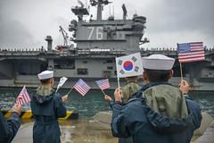 USS Ronald Reagan arrives in Busan, Republic of Korea. (Official U.S. Navy Imagery) Tags: cnfk rokn republicofkorea wesleyjbreedlove usn navy uss ronald reagan exercise invincible spirit busan kr