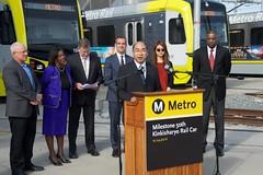 Oba speaking (Metro - Los Angeles) Tags: kinkisharyo lightrailvehicle blueline goldline expoline greenline ericgarcetti johnfasana jacquelyndupontwalker mikebonin metroboardofdirectors santamonica