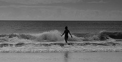 Seaside (Kerryjwagner) Tags: waves ocean atlantic northcarolina beach seaside shore swim swimming daughter bw mono monochrome