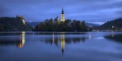 Lake Bled Dawn Panoramic (pics721) Tags: bled lake slovenia church hill outdoor tree tower park river calm christian scenery village forest reflection ripple land island coast julian european landmark valley castle pond summer outside alpine catholic mountain sky scenic cliff water europe