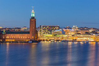 Stockholm City Hall during blue hour