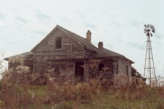(littlehoneybee) Tags: abandoned abandonment rural decay farm house exploration exploring explore wisconsin fall midwest film 35mm canon windmill