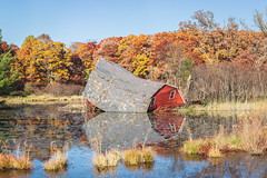 Sinking barn - blue sky (michaelraleigh) Tags: 200mm autumn f28l serene highquality water vintage canon fall pond sun sinking reflection barn beautiful hidden infocus sky sinkingbarn outdoors sad canoneos5dmarkii secluded lake minnesota