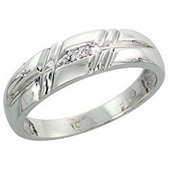 14k White Gold Ladies' Diamond Band, w/ 0.02 Carat Brilliant Cut Diamonds, 7/32 in. (5.5mm) wide, Size 7.5 (goodies2get2) Tags: 1000ampabove amazoncom bestsellers diamond gold