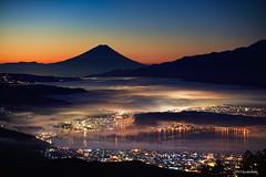 Taka-bocchi  before dawn (koshichiba) Tags: takabocchi lake mastumoto nagano japan suwa mtfuji fujisan fujiyama landscape peak fog nature city light