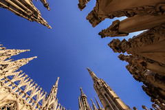 Look to the heavens (robertdownie) Tags: sky city travel religion church blue europe italy old architecture building italia cathedral milan duomo italian milano spires ital