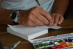 l'crivain (Bn Lefort) Tags: writter auteur crivain godet aquarelle carnet mains