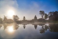 Clear and Foggy (giantmike) Tags: water sun trees fog hdr morning lake still pond nature wi madison canonef24105mmf4lis